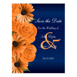 Blue with Orange Rose & Daisy - Save The Date Postcard