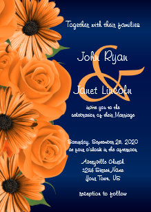 Blue With Orange Rose Daisy Wedding Invitations