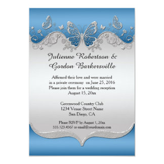 "Blue with Ornate Silver Butterflies Post Wedding 5"" X 7"" Invitation Card"