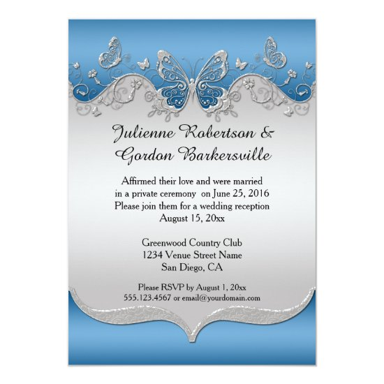 Blue with Ornate Silver Butterflies Post Wedding Invitation