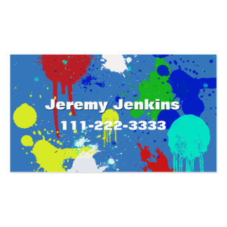 Blue with Paint Splashes Business Card