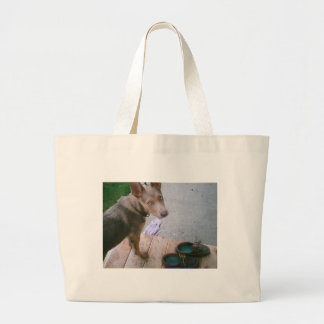 blue with shoes tote bag