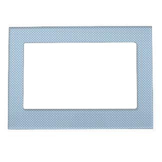 Blue With Simple White Dots Photo Frame Magnet