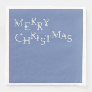 Blue With Snowflake Merry Christmas Paper Dinner Napkin