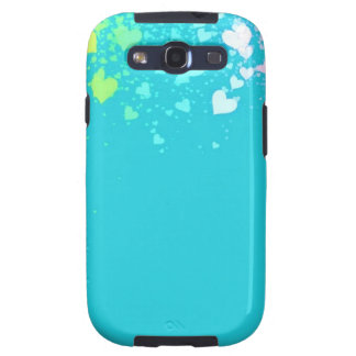 Blue with tiny rainbow hearts Samsung Galaxy S II Galaxy S3 Cases