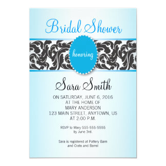 Blue with Vintage Black Swirls Bridal Shower 5x7 Paper Invitation Card