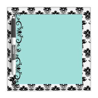Blue with White and Black Damask Dry Erase Board