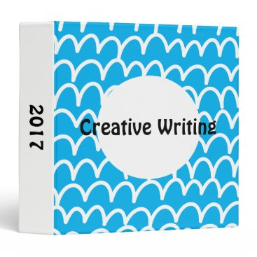 Beach Themed Blue With White Doodles 3 Ring Binder