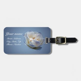Blue with White Flower Luggage Tag