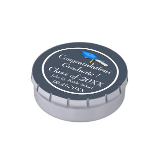 Blue with White Graduation Candy Tins Party Favors