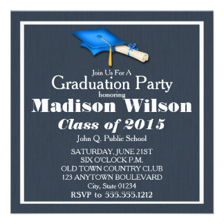 Blue with White Graduation Invitations