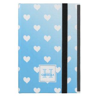Blue With White Hearts :Powis iCase iPad Mini Case