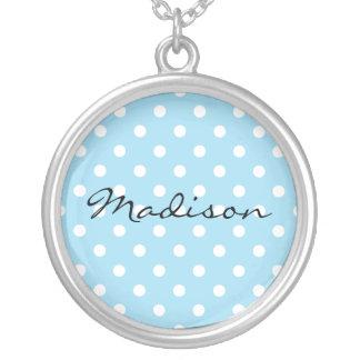 Blue with White Polka Dot Background Custom Name Round Pendant Necklace