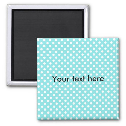 Blue with white polkadots 2 inch square magnet