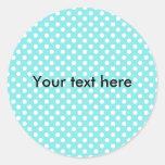 Blue with white polkadots round sticker