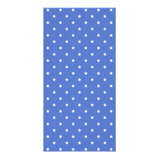 Blue with white stars. Pattern. Photo Card