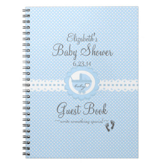 Blue with White Swiss Dots Baby Shower Guest Book
