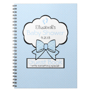 Blue With White Swiss Dots Baby Shower Guest Book Spiral Notebook