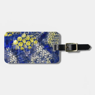 Blue with Yellow and White Dots - on Canvas Luggage Tags