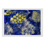 Blue with Yellow and White Dots - on Canvas Posters