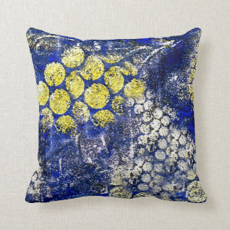 Blue with Yellow and White Dots - on Canvas Throw Pillow