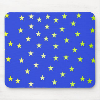 Blue with Yellow-Green Stars Mousepad