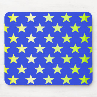 Blue with Yellow-Green Stars Mousepad 2
