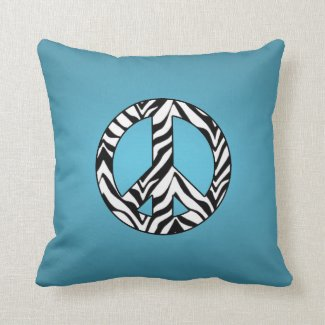 Blue With Zebra Peace Sign Pillow