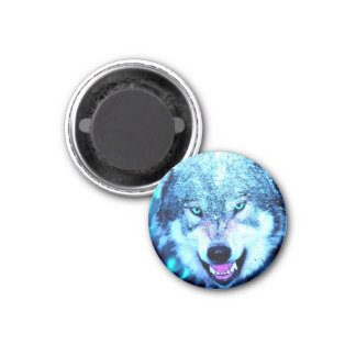 Blue wolf face 1 inch round magnet