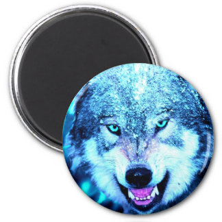 Blue wolf face 2 inch round magnet