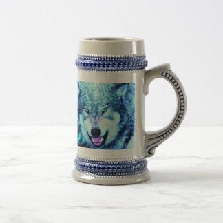Blue wolf face beer stein