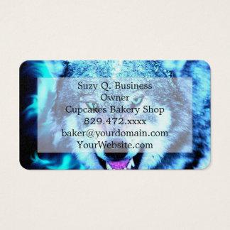 Blue wolf face business card