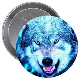 Blue wolf face button