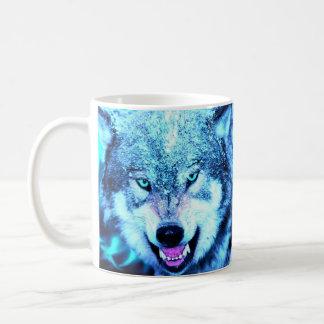 Blue wolf face coffee mug