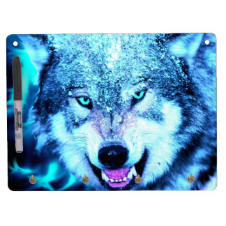 Blue wolf face dry erase board with keychain holder