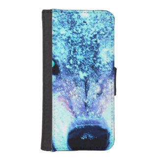 Blue wolf face iPhone SE/5/5s wallet