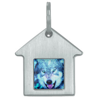 Blue wolf face pet name tag