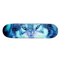 Blue wolf face skateboard deck