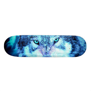 Blue Wolf Face Skateboard Deck at Zazzle