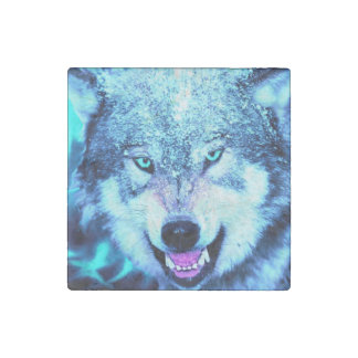 Blue wolf face stone magnet