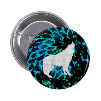 Blue Wolf Pinback Button