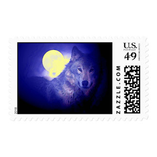 Blue Wolf Portrait & Full Moon Postage Stamps