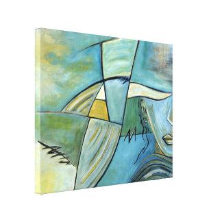 Blue Woman Portait Abstract Mysterious Woman Art Canvas Print