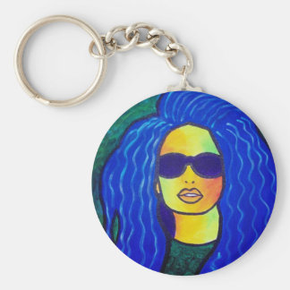 Blue Woman Sunglasses by Piliero Basic Round Button Keychain