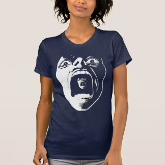 Blue Women's V-neck shirt with white Scream