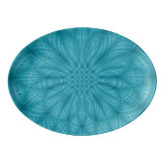 Blue wood abstract pattern porcelain serving platter