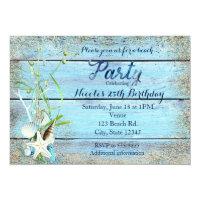 Blue Wood Beach Tropical Birthday Party Invitation