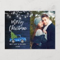 Blue Wood Brush Script Truck Lights Christmas Postcard