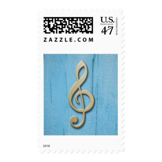 Blue Wood Gold Music Postage