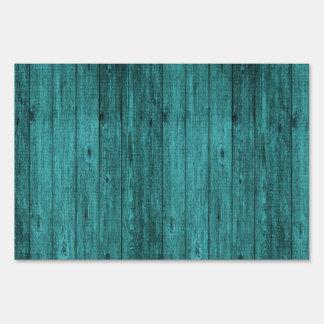 blue wood sign